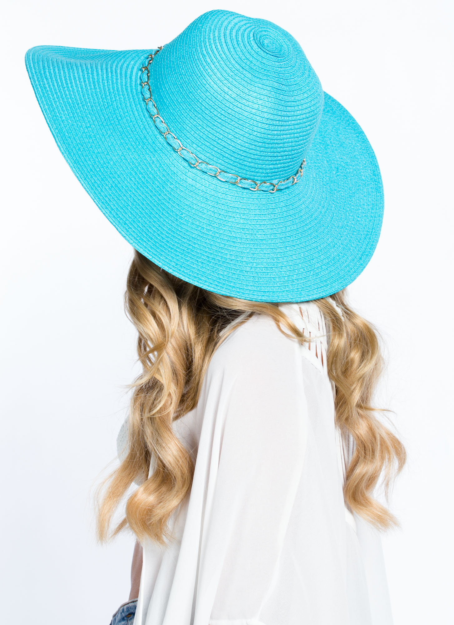 Chain Trimmed Wide Brim Hat SKYBLUE