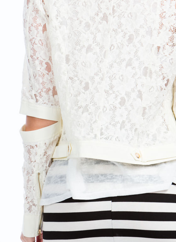 Traced In Lace Moto Jacket IVORY