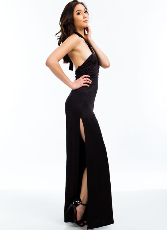 Split Second Halter Jumpsuit BLACK