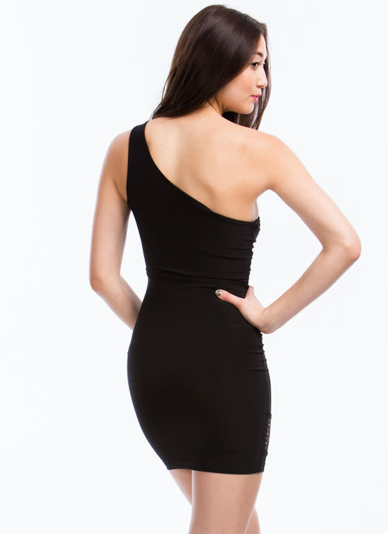 One Shoulder Openwork Trim Dress BLACK