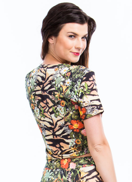 Tiger Lily Floral Mixed Print Top GREENBROWN