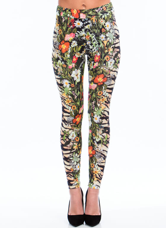 Tiger Lily Floral Mixed Print Pants GREENBROWN