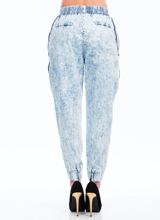 Zipped Into Shape Acid Wash Joggers LTBLUE