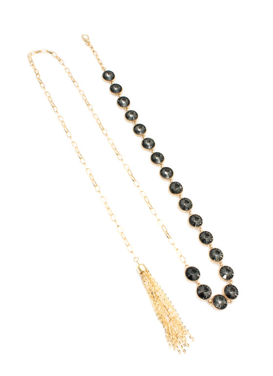 Round Jeweled Chain Belt BLACKGOLD