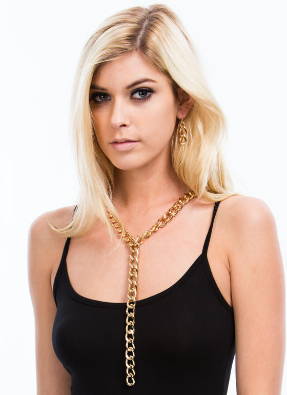 Metal Y-Shaped Chain Necklace Set GOLD