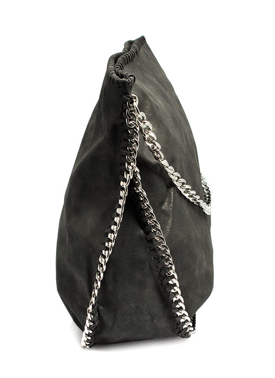 Slouchy Metallic Faux Suede Handbag BLACK