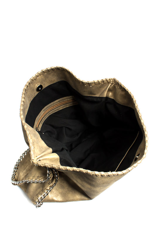 Slouchy Metallic Faux Suede Handbag GOLD