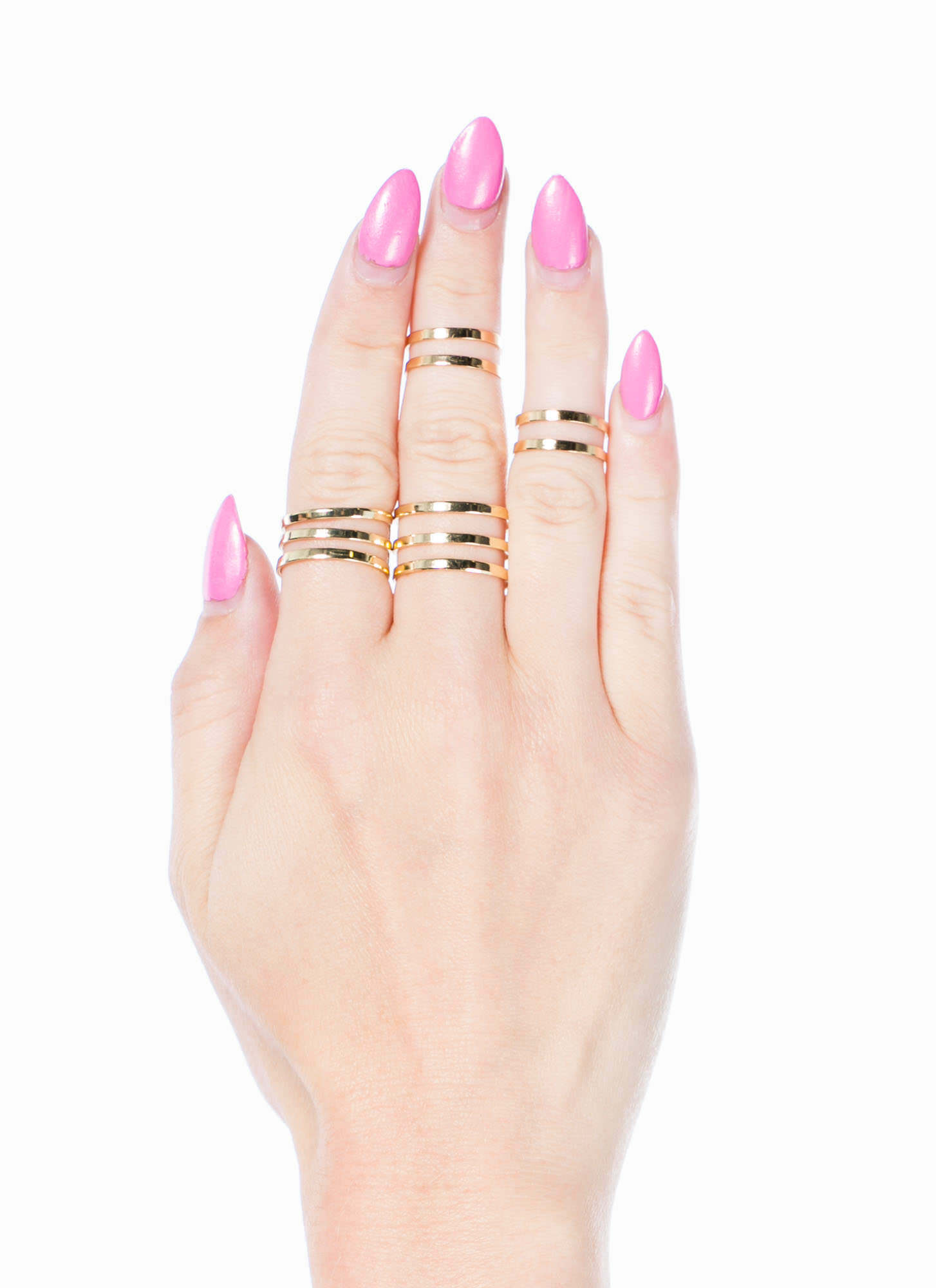 Cut-Out Midi Ring Set GOLD