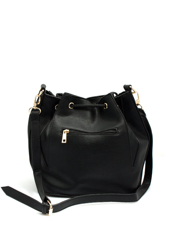 Grommet Studded Bucket Bag BLACK