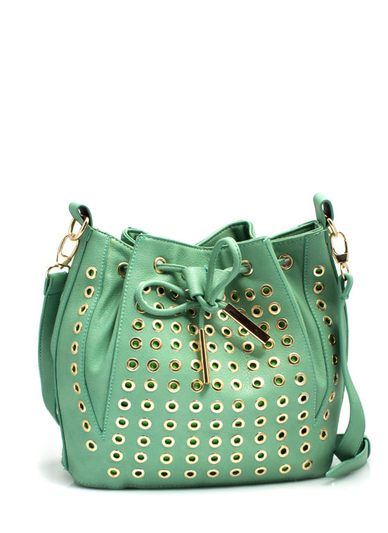 Grommet Studded Bucket Bag MINT