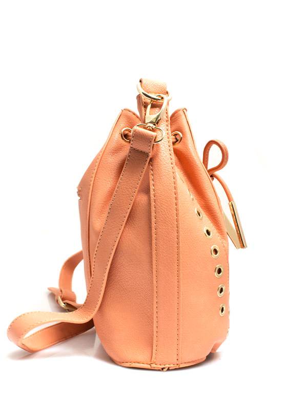 Grommet Studded Bucket Bag PEACH