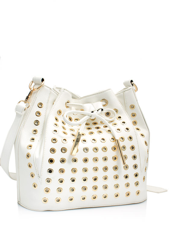 Grommet Studded Bucket Bag WHITE