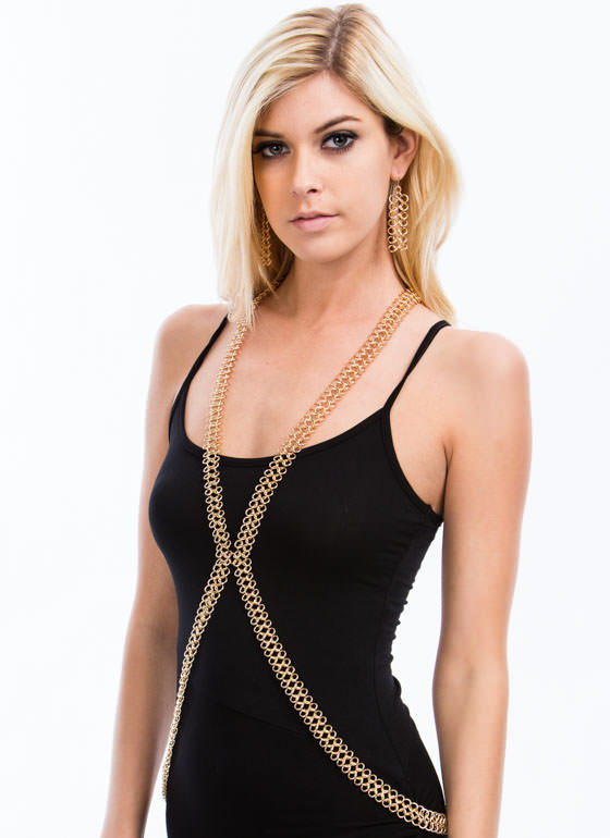 Linked Rings Body Chain Set GOLD