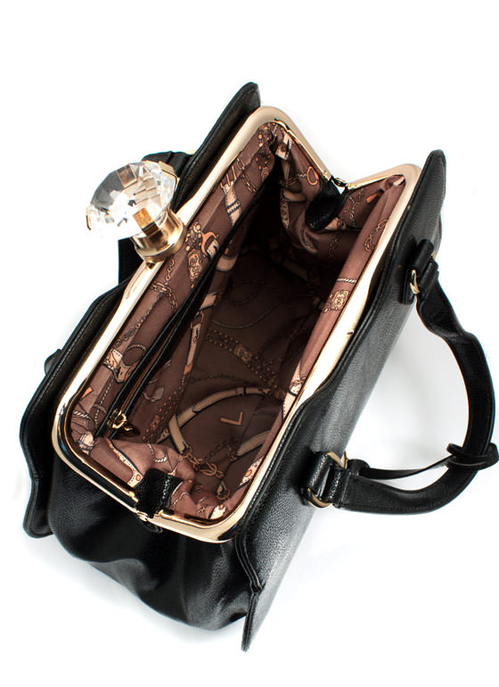 Giant Gem Faux Leather Bag BLACK