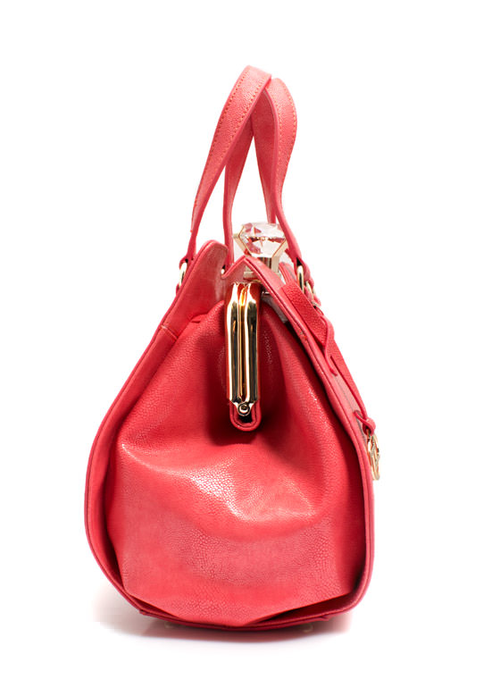 Giant Gem Faux Leather Bag FUCHSIA
