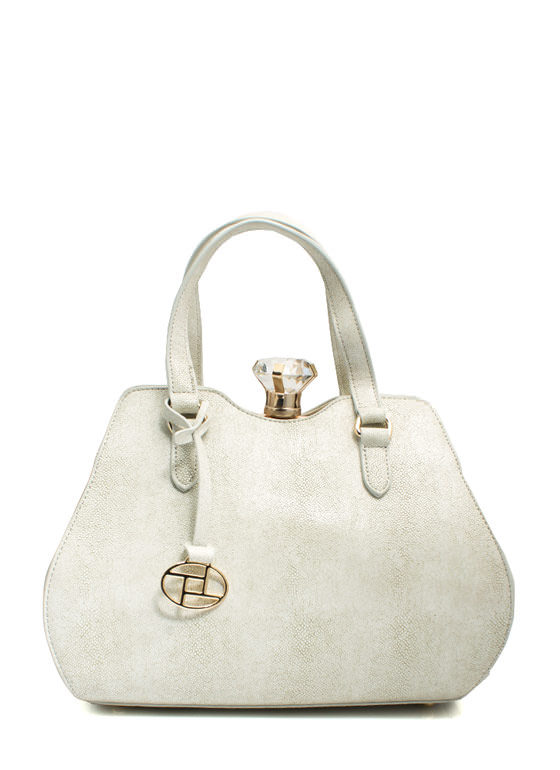 Giant Gem Faux Leather Bag OFFWHITE