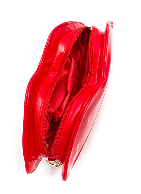 Faux Patent Lip Smacking Clutch RED