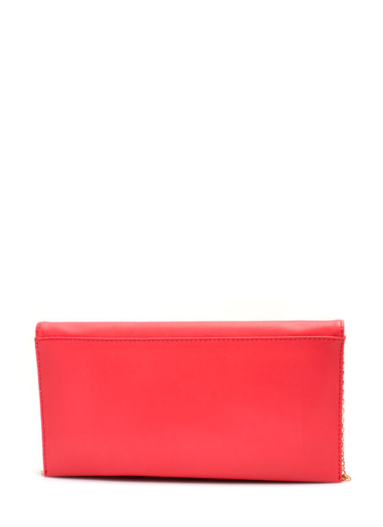 Rectangular Faux Leather Clutch CORAL