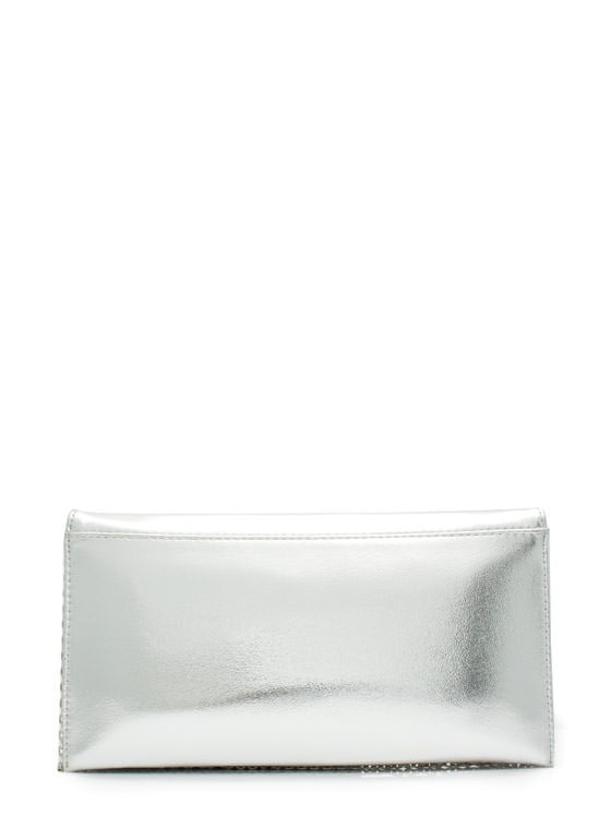 Rectangular Faux Leather Clutch SILVER