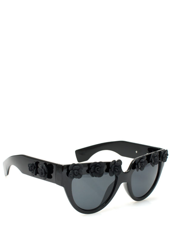 Rosette Embellished Sunglasses BLACKCHAR