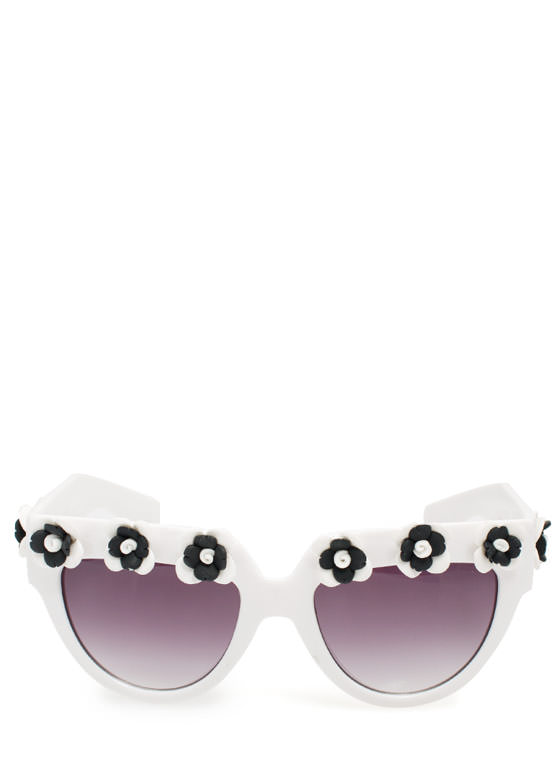 Rosette Embellished Sunglasses WHITE