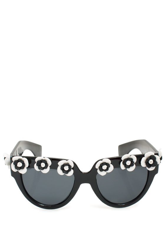 Rosette Embellished Sunglasses WHITECHAR