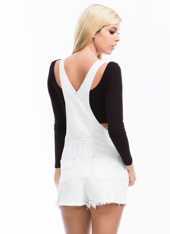 No Stress Distressed Denim Shortalls WHITE