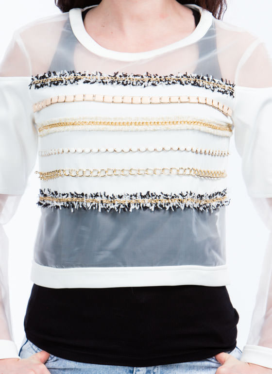 Embellish It Mesh Panel Sweatshirt WHITE
