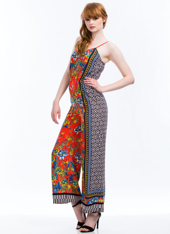 Shapes N Flowers Jumpsuit ORANGE