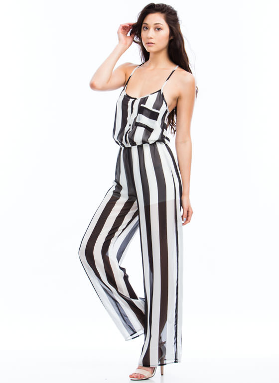 Sheer Genius Striped Jumpsuit BLACKWHITE