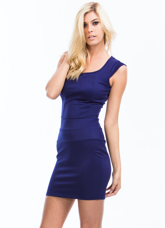 Circle Cut-Out Bodycon Dress ROYAL