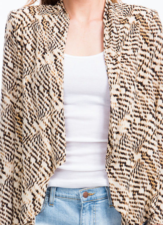 Digital Fur Print Blazer TAUPEBROWN