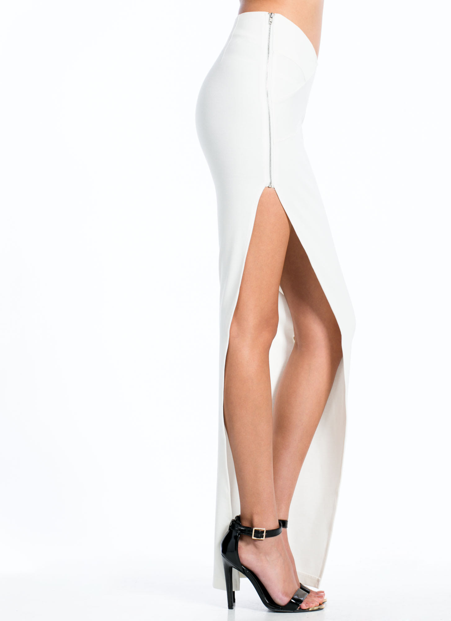 Zip To It Maxi Skirt WHITE
