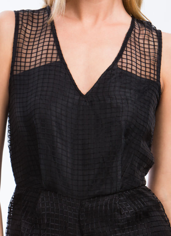 On The Grid Organza Romper BLACK