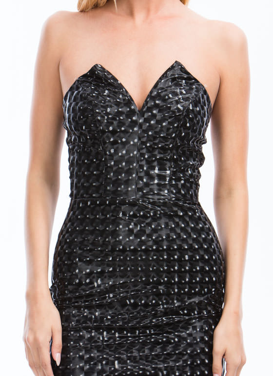 Kaleidoscope Sweetheart Bodycon Dress BLACK
