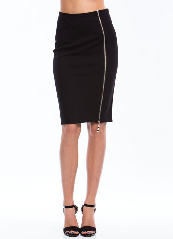 Zip Into Shape Pencil Skirt BLACK