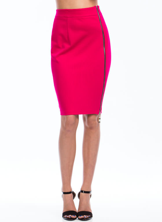 Zip Into Shape Pencil Skirt FUCHSIA