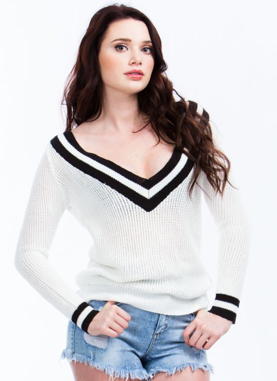 Preppy V-Neck Sweater WHITE