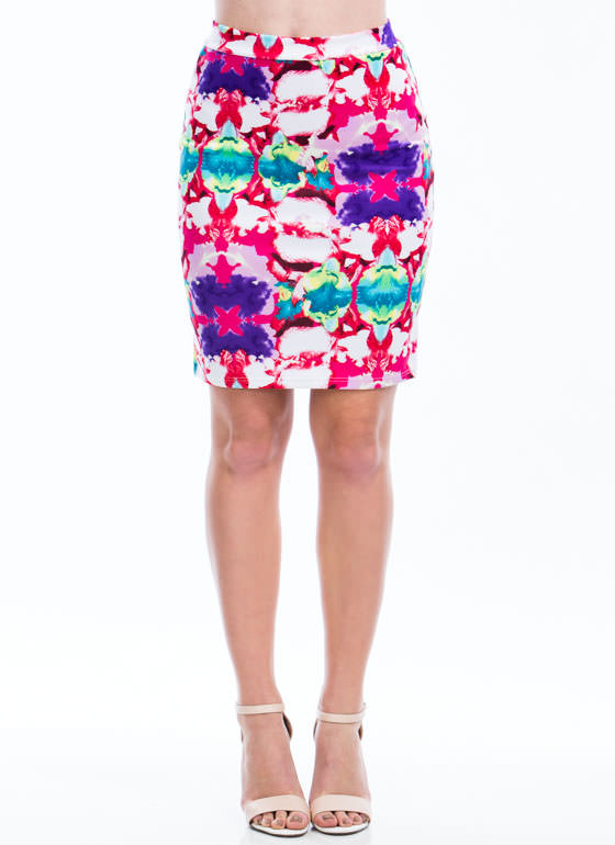 Piece Of Art Watercolor Pencil Skirt PINKPURPLE