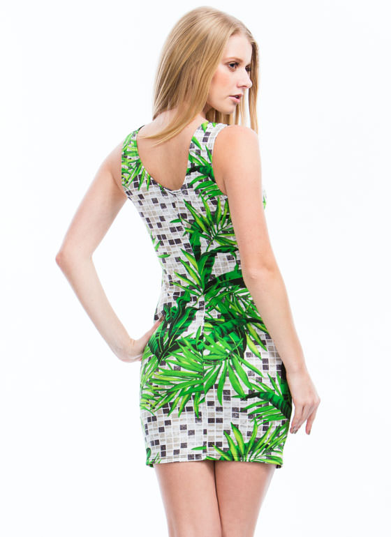 Palm Frond Tiled Cut-Out Dress GREEN