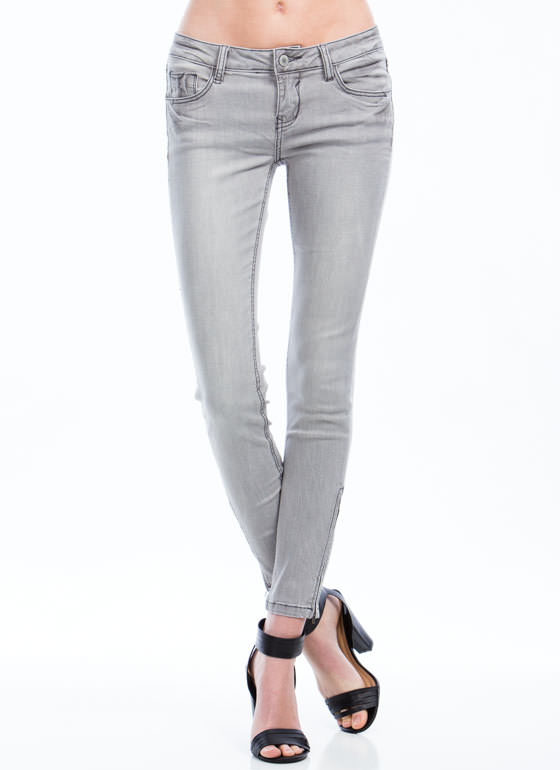 Ankle Length Zipper Skinny Jeans GREY