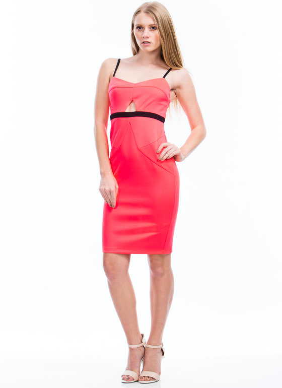 Two-Way Traffic Strappy Cut-Out Dress NEONPINK