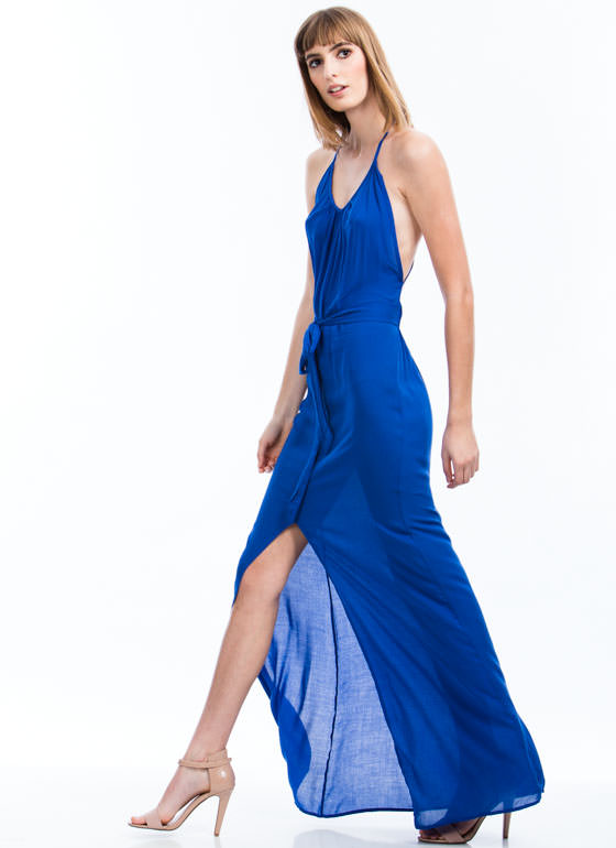 Free Spirit Halter Maxi Dress ROYAL