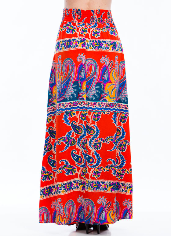 Pay Me In Paisley Maxi Skirt ORANGE