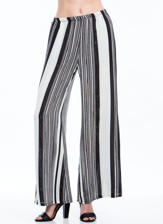 Winning Streak Striped Palazzo Pants BLACKWHITE