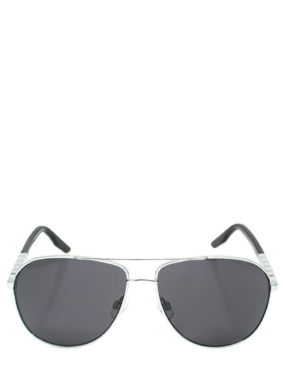 Metallic Coated Aviator Sunglasses SILVERCHAR