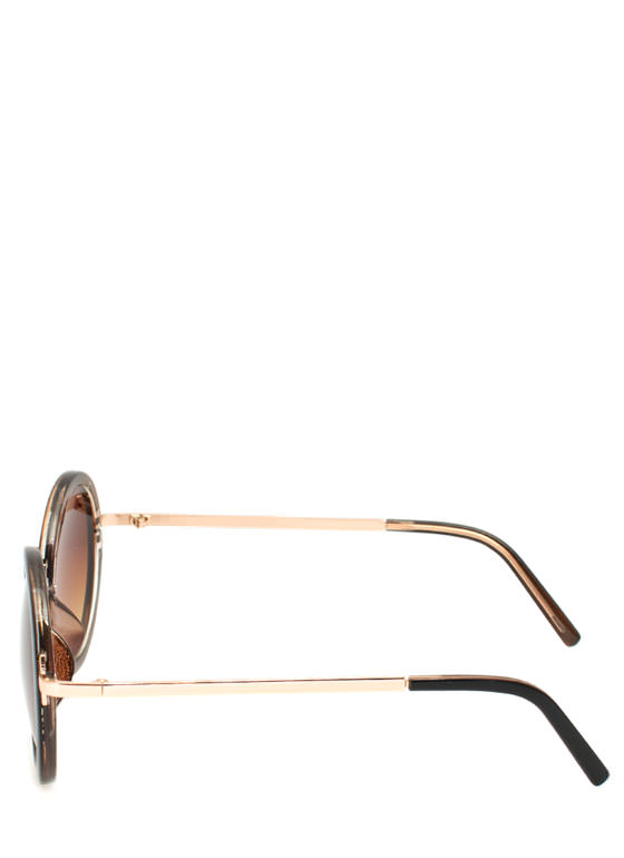 Circle Shaped Sunglasses BROWNGOLD