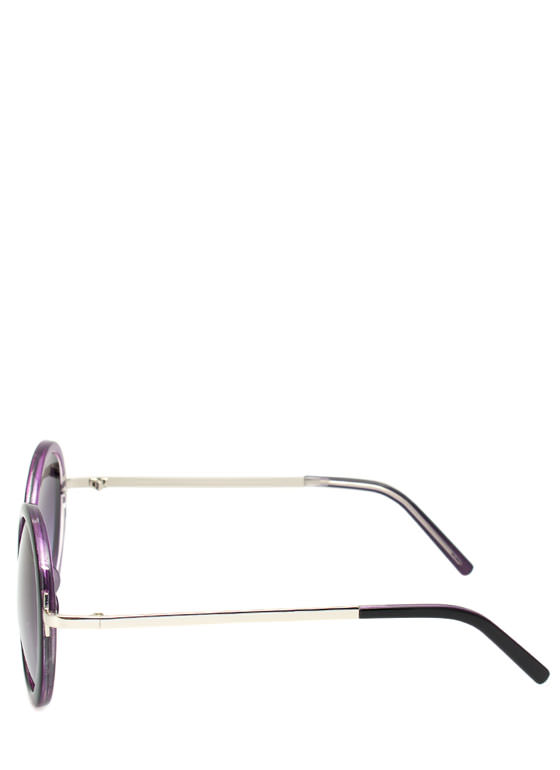 Circle Shaped Sunglasses PURPSILVER