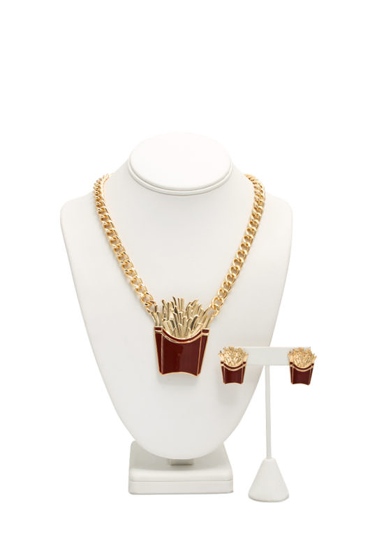 French Fries Necklace Set GOLDRED