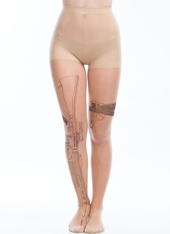 Machine Gun Garter Belt Tattoo Tights NUDEBLACK